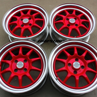 GAB sport wheels jdm import 4x100 rare red